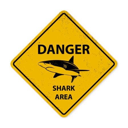 sighting: Yellow shark sighting sign. Grunge effect can be edited or removed.