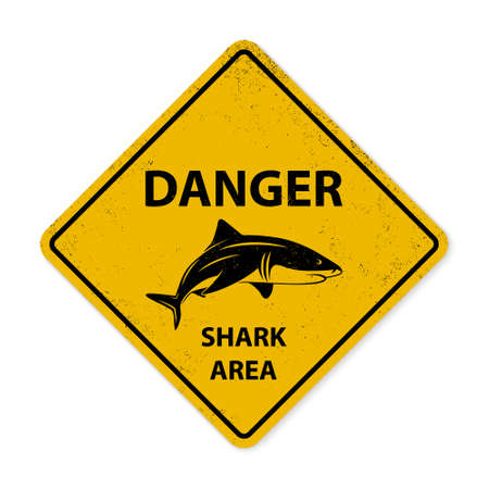 sighting: Yellow shark sighting sign. Grunge effect can be edited or removed.     Illustration