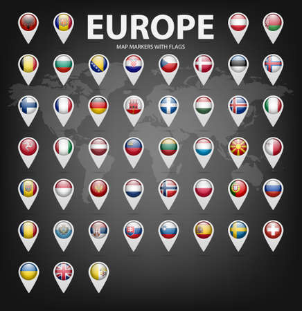White map markers with flags - Europe. Original colors. Vector