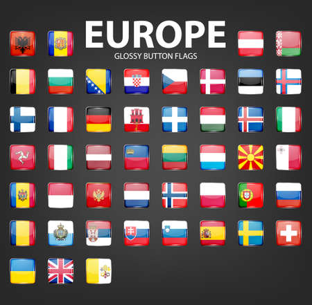 glossy button: Set of glossy button flags - Europe. Original colors. Vector icons.