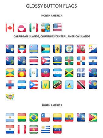 flag of argentina: Conjunto de los indicadores de bot�n de brillante - Am�rica del Norte, el Caribe islas, pa�ses, CENTROAM�RICA ISLAS, Am�rica del Sur. Ilustraci�n vectorial EPS10.