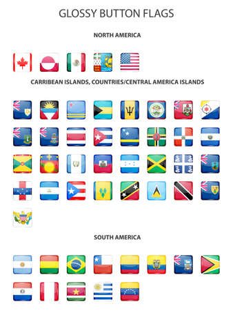 Set of glossy button flags - NORTH AMERICA, CARRIBEAN ISLANDS, COUNTRIES, CENTRAL AMERICA ISLANDS, SOUTH AMERICA. Vector EPS10 illustration.