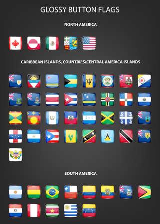 banderas america: Conjunto de los indicadores de botón de brillante NORTE AMERICA DEL CARIBE ISLAS PAÍSES AMÉRICA CENTRAL AMÉRICA DEL SUR ISLAS. Ilustración del vector. Vectores