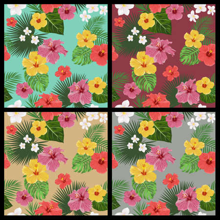 Set of tropical floral seamless patterns with flowers and leaves. Vector EPS8 illustration. Vector