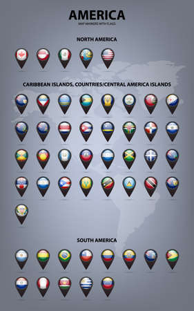 banderas america: Marcadores de mapa blancas con banderas - América del Norte y del Sur, Islas del Caribe, países, central Islas América .. Vector EPS10 ilustración. Vectores