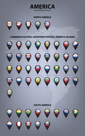 Marcadores de mapa blancas con banderas - América del Norte y del Sur, Islas del Caribe, países, central Islas América .. Vector EPS10 ilustración. Vectores