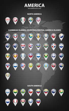 mapa de venezuela: Marcadores de mapa blancas con banderas - América del Norte y del Sur, Islas del Caribe, países, islas centrales América ..