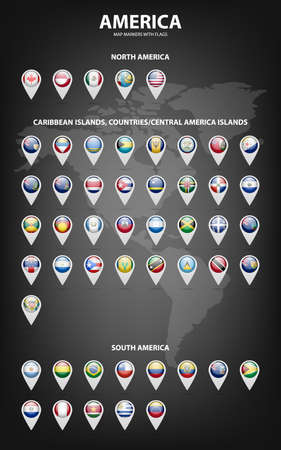 White map markers with flags - North and South America, Caribbean Islands, countries, Central America Islands.. Vetores