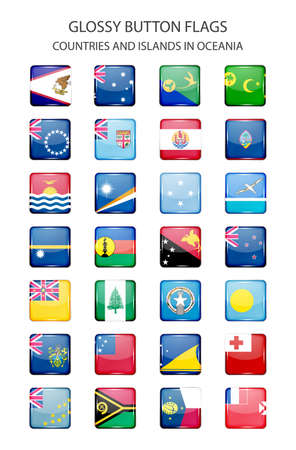 oceania: Glossy button flags - countries and islands in Oceania. Original colors. Illustration