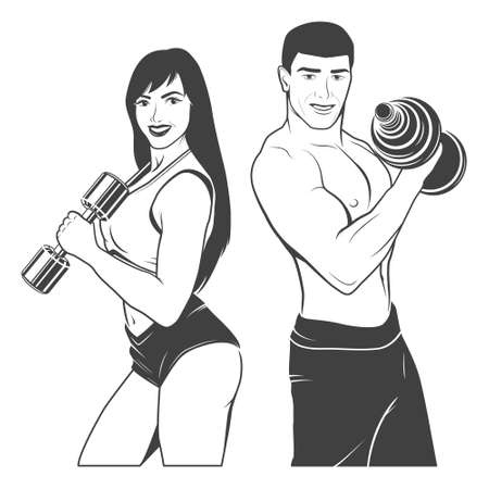Beautiful fitness young sporty couple with dumbbells. Monochrome vector EPS8 illustration.