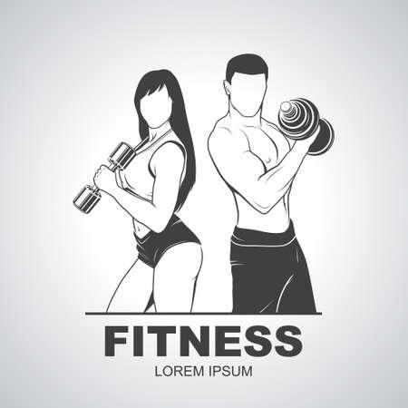 symbol sport: Beautiful fitness jungen sportlichen Paar mit Hanteln.