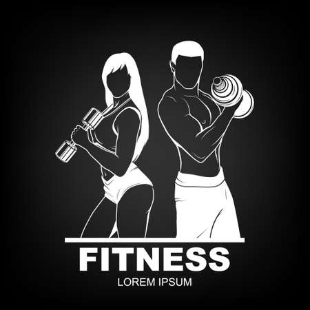 strong: Beautiful fitness young sporty couple with dumbbells.