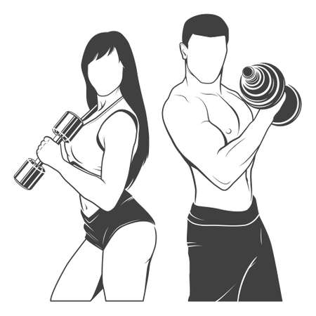 Beautiful fitness young sporty couple with dumbbells.   Illustration