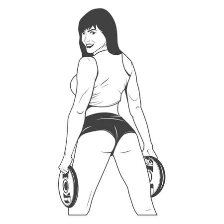 Nice sexy woman with disc weights.   Illustration