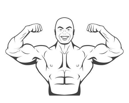 trizeps: Strong bodybuilder man mit perfekter abs, Schultern, Bizeps, Trizeps und Brust seine Muskeln spielen. Monochrom-Vektor-Illustration. Illustration