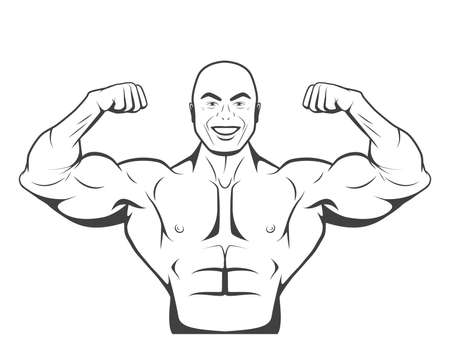 triceps: Strong bodybuilder man with perfect abs, shoulders, biceps, triceps and chest flexing his muscles. Monochrome vector illustration.