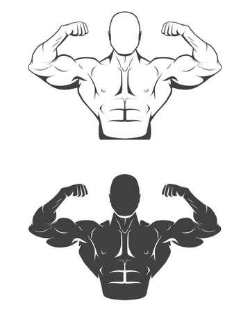 muscle: Hombre culturista fuerte con perfectos abdominales, hombros, bíceps, tríceps y pecho flexionando sus músculos. Monocromo ilustración vectorial EPS8.