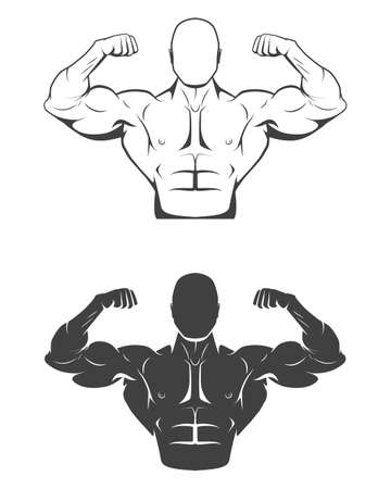 male model torso: Strong bodybuilder man with perfect abs, shoulders, biceps, triceps and chest flexing his muscles. Monochrome vector EPS8 illustration. Illustration