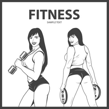 buttocks: Fitness woman in two different poses. Monochrome vector EPS8 illustration. Illustration