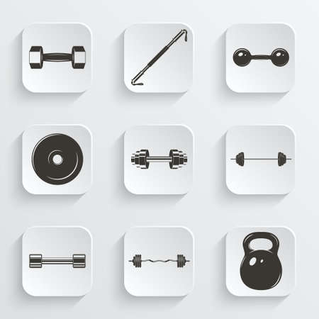 forceful: Set of sign weights for fitness or gym paper icons.