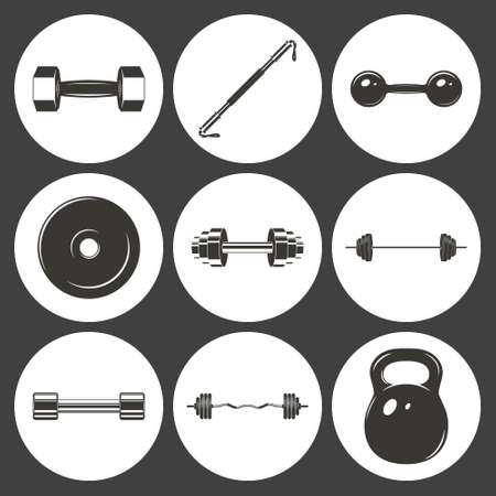 forceful: Set of sign weights for fitness or gym icons.