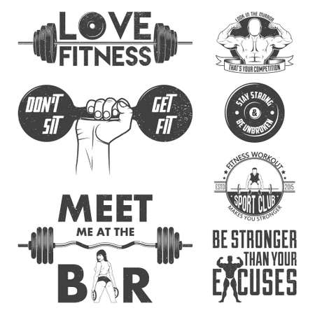 gym equipment: Fitness vector set. Vintage elements and labels. Grunge effect can be edited or removed. It can be used for printing on T-shirts. Vector EPS10 illustration. Illustration