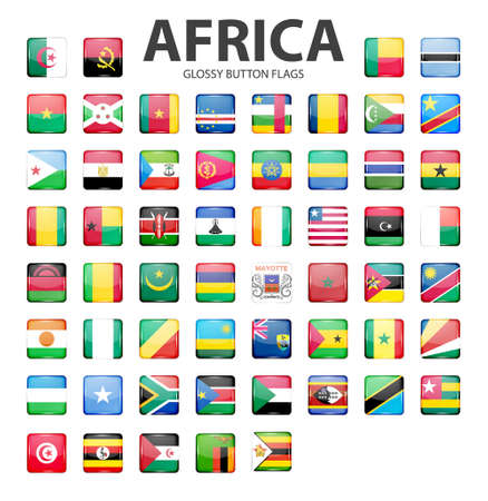 glossy button: Glossy button flags - Africa. Original colors.