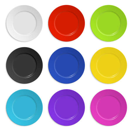 Set of colored plates isolated on white.