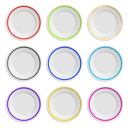 Set of plates with colored stripe isolated on white.  Vectores