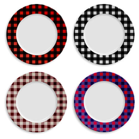 checkered pattern: Set of plates with checkered pattern isolated on white.
