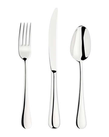 fork and spoon: Fork, spoon and knife isolated on white.
