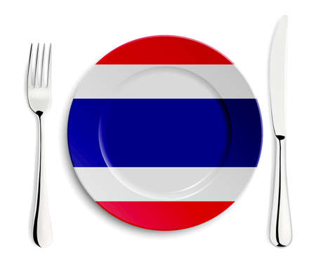 cook out: Plate with flag of Thailand with fork and knife isolated on white.  Illustration