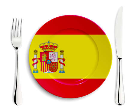 empty the bowl: Plate with flag of Spain with fork and knife isolated on white.