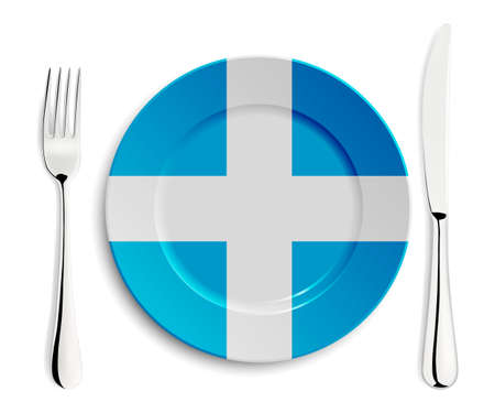 greece: Plate with flag of Greece with fork and knife isolated on white.  Illustration