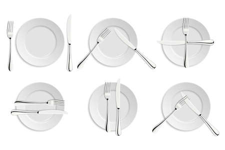 crockery: Dining etiquette, forks and knifes signals.