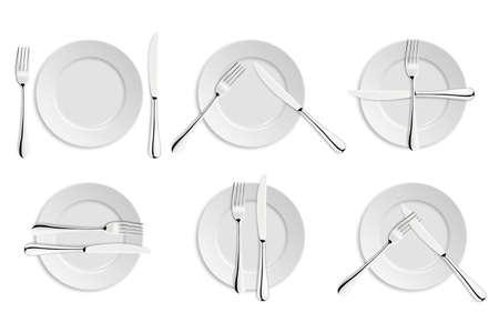 Tiquette à table, fourchettes et couteaux de signaux. Banque d'images - 43204310