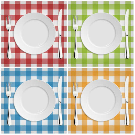 lunch table: Empty plate with fork and knife at classic checkered tablecloth. Illustration