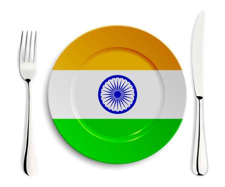 bandera de la india: Placa con la bandera de la India con un tenedor y cuchillo aislados en blanco. Vectores