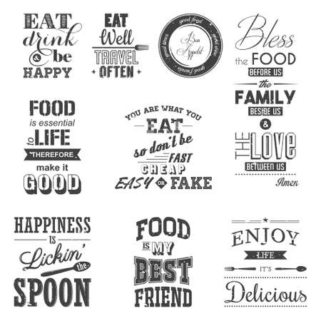 Set of vintage food typographic quotes. Grunge effect can be edited or removed. Vectores