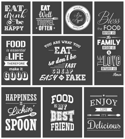 saying: Set of vintage food typographic quotes.