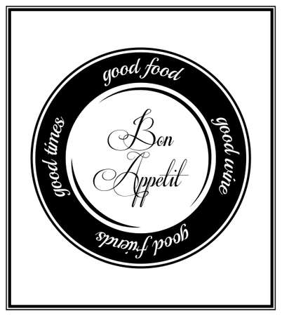 wine and food: Good food, food wine, good friends, good times - Quote Typographical Background.