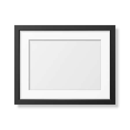 Realistic black frame A4 isolated on white. It can be used for presentations.