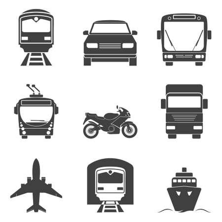 単純な単色の交通機関のアイコンを設定します。