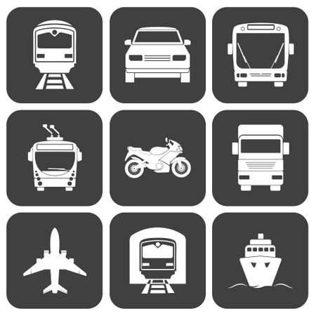 transport icons: Simple monochromatic transport icons set.