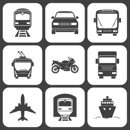 transportation: Icone semplici di trasporto monocromatici impostate. Illustrazione vettoriale eps8.