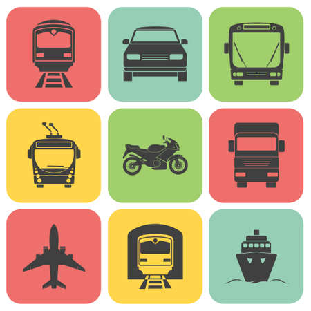 transport icons: Simple transport icons set. Illustration