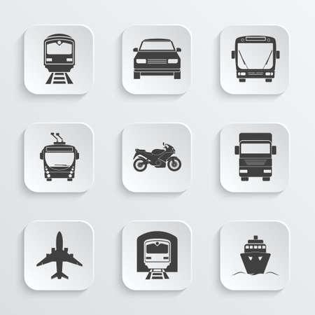 Simple transport icons set. Vector EPS10 illustration. Stock Illustratie