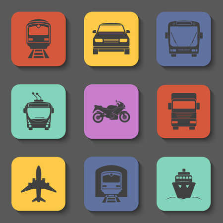 iconos de transporte: Simple transport icons set Vectores