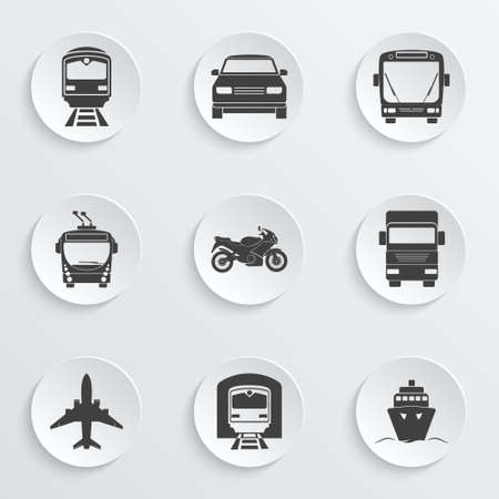 単純な交通機関のアイコンを設定  イラスト・ベクター素材