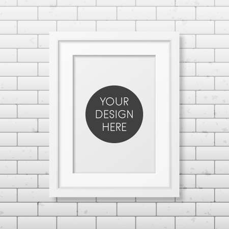 wooden frame: Realistic white frame A4 on the brick wall background. It can be used for presentations